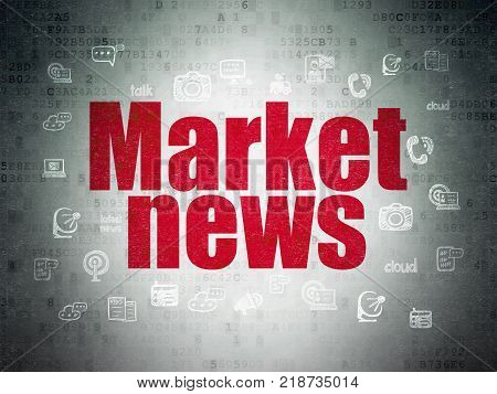 News concept: Painted red text Market News on Digital Data Paper background with  Hand Drawn News Icons