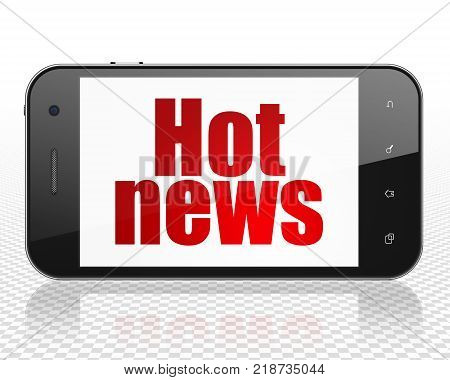 News concept: Smartphone with red text Hot News on display, 3D rendering