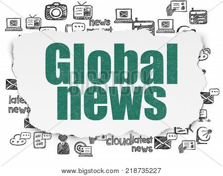 News concept: Painted green text Global News on Torn Paper background with  Hand Drawn News Icons