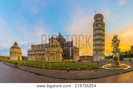 Pisa Cathedral with Leaning Tower of Pisa on Piazza dei Miracoli in Pisa Tuscany Italy.