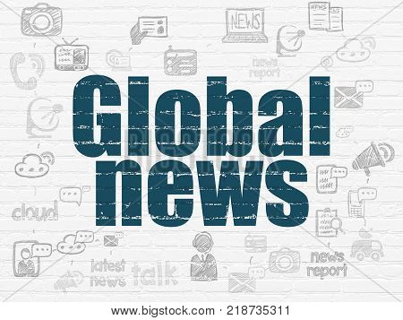 News concept: Painted blue text Global News on White Brick wall background with Scheme Of Hand Drawn News Icons