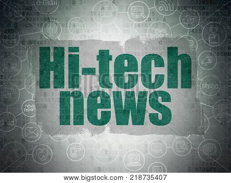 News concept: Painted green text Hi-tech News on Digital Data Paper background with  Scheme Of Hand Drawn News Icons