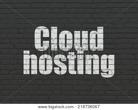 Cloud networking concept: Painted white text Cloud Hosting on Black Brick wall background