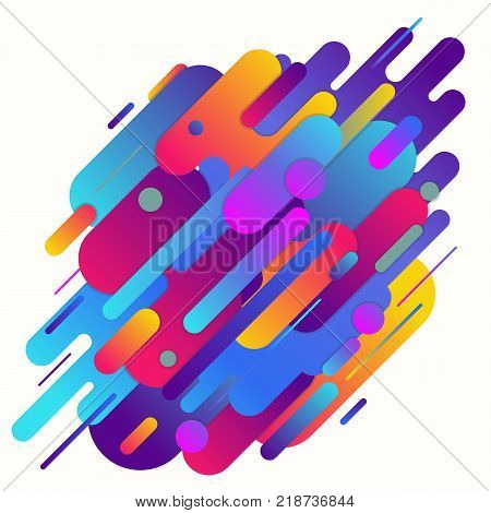 Geometric abstract gradient vector background. Geometric shapes with gradients and rounded corners diagonal. Violet and purple color gradients. Minimalist decoration for printing or web. EPS 10.