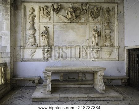 Loggia with Judge table in the city of Trogir, Croatia