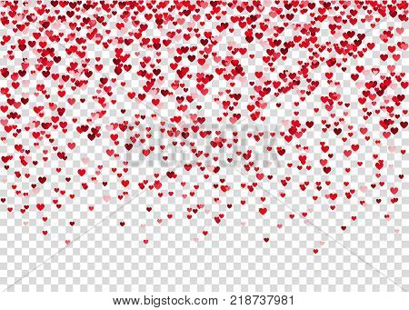 Flying Heart Confetti, Valentines Day Background.