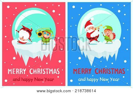 Merry Christmas and Happy New Year greeting card Santa and Elf dancing at music head over heels, play on trumpet and drum musical instruments vector