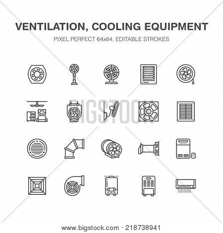 Ventilation equipment flat line icons. Air conditioning, cooling appliances, exhaust fan. Household and industrial ventilator thin linear signs for store. Pixel perfect 64x64.