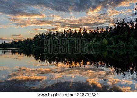 Sunset on Lake, Evening lake, lake at sunset