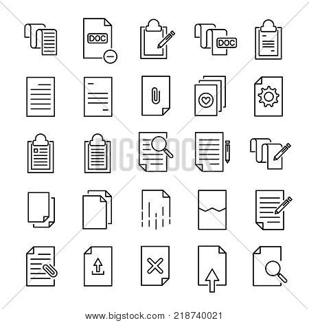 Set of 25 document thin line icons. High quality pictograms of file. Modern outline style icons collection. Data, bureaucracy, paper, business, etc.
