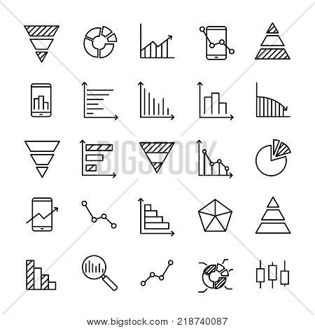 Set of 25 diagram thin line icons. High quality pictograms of graph. Modern outline style icons collection. Graphic, chart, infographic, scheme, etc.