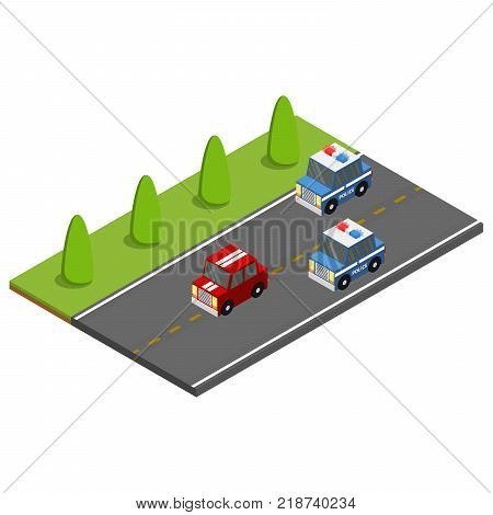 Police on the car chasing the offender. Isometric vector illustration