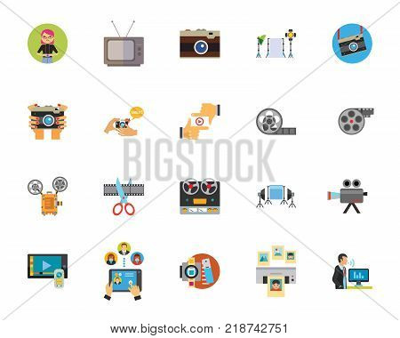 Photo and video industry icon set. Can be used for topics like video tape, camera, movie, cinematograph, media