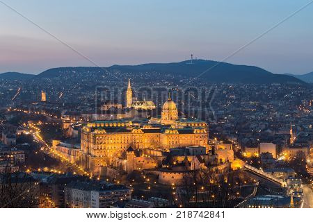 Historic Royal Palace - Buda Castle on night in light in Budapest Hungary