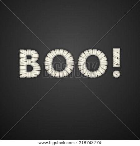 Boo Text. Mummy Bandage Font. Halloween Greeting Card. Vector