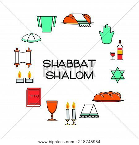 Shabbat shalom greeting card. Star of David, candles, kiddush cup and challah. Vector illustration. Isolated on white.