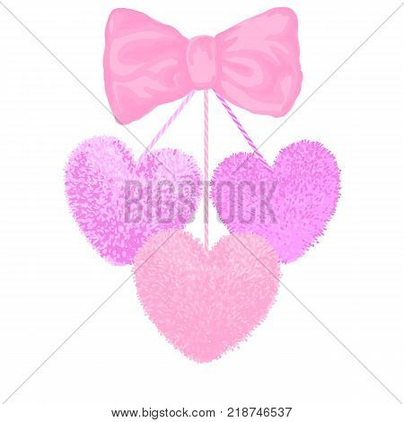 Vector colorful illustration of decortive elements with pink pom-poms in the shape of a heart hanging on the ropes with bow isolated on white background. Decor for Valentines day design.