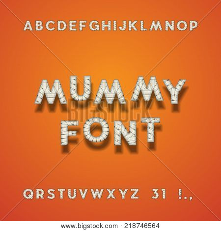 Mummy Bandage Font. Halloween Sans Serif Typeface. Letters, Punctuation Marks, Numbers 3 And 1. Latin Alphabet. Vector