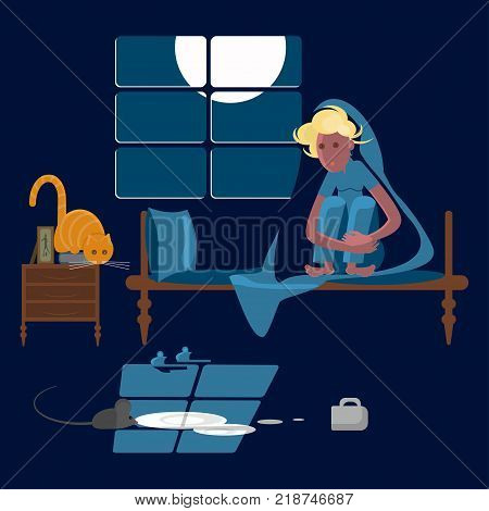 Young woman with cat at night in the dark on a bed scared of a mouse, mice phobia, vector illustration eps 10