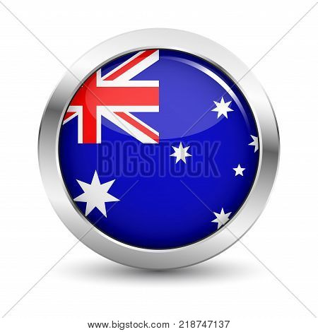 Australia icon silver glossy badge button with Australian flag and shadow vector EPS 10 illustration on white background.