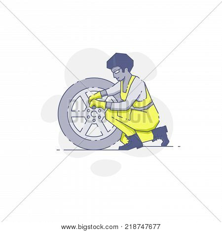 Vector illustration of female mechanic in yellow workwear changing the wheel.
