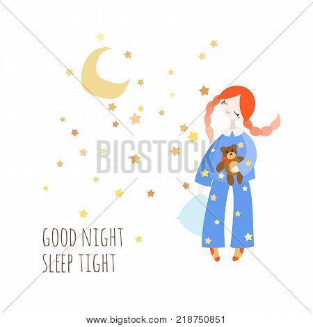 Cute girl in the sleepwear holding pillow and toy bear. Good night card. Vector illustration in tilda style.