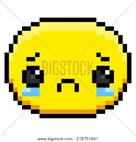 Vector Crying Face Isolated On White Background