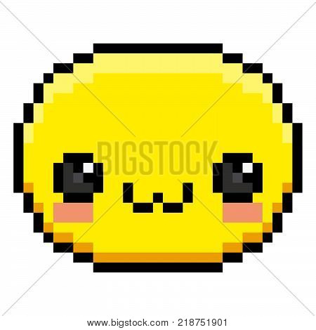 Vector Pixel Cartoon Cute Face Isolated On White Background