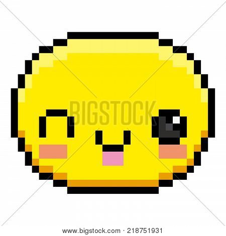 Vector Cartoon Face With Tongue-Out Isolated On White Background