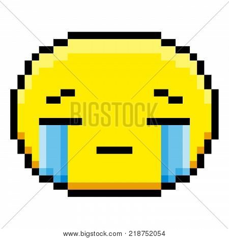 Vector Cartoon Crying Face Isolated On White Background