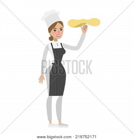 Isolated female chef tossing pizza dough on white background.