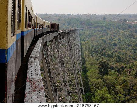 Shan Myanmar - Feb 23 2016. A train running on the Goteik viaduct in Nawnghkio western Shan State Myanmar.
