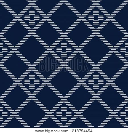 Kogin embroidery. Asian embroidery motif. Abstract seamless pattern. Japanese traditional ornament. Geometric illustration. Ornament for stitching. For decoration, web-page background or handicraft.