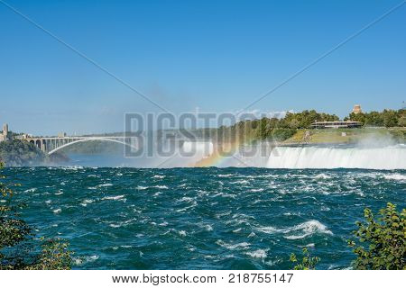 Niagara Falls Landscape Flow and RainbowNiagara Falls Landscape Flow and Rainbow in Canada side.