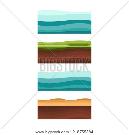 Seamless Grounds, Soil And Grass For Ui Game Illustration Of A S