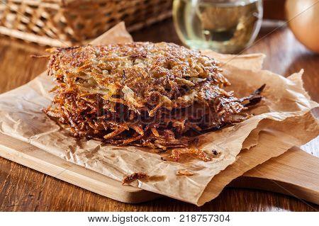 Hash Brown, Potato Pancakes On Paper