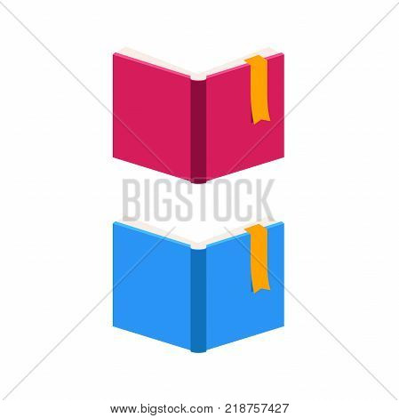 Vector Set of Colorful Horizontal and open Books in 3d.Education Infographic Template Design with Books.Set of Book Icons in Flat style isolated from white background