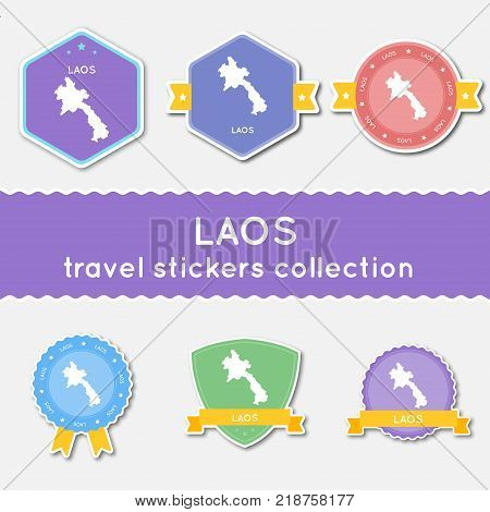 Lao People's Democratic Republic Travel Stickers Collection. Big Set Of Stickers With Country Map An