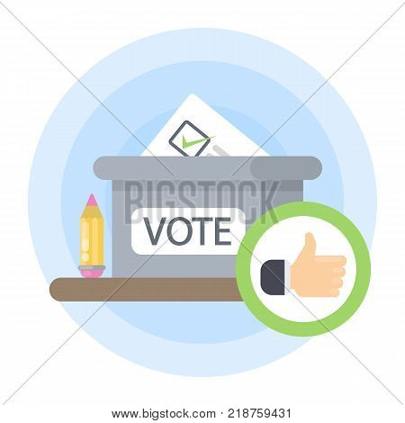 Isolated vote box with pencil, paper and like.