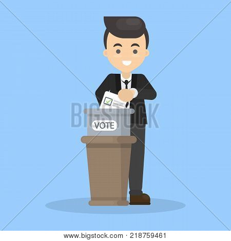 Isolated voting man with paper and ballot box.