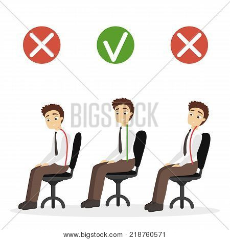 Good posture set. Man with bad and good spine sitting in office.