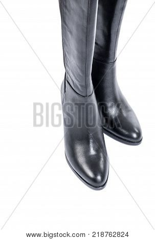 Women's Knee High Black Leather Boots Isolated on White