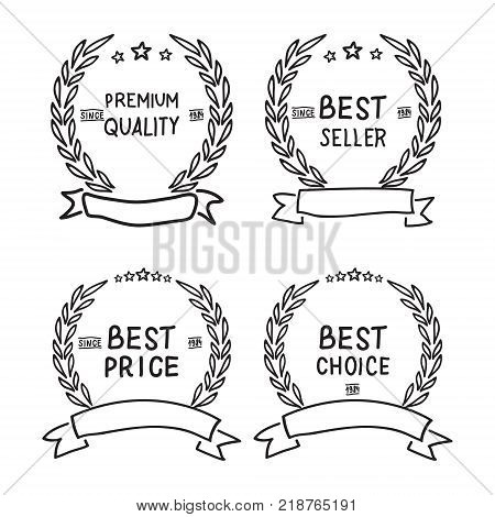 Vector hand draw badges collection Premium quality, Best seller, Best price and Best choice