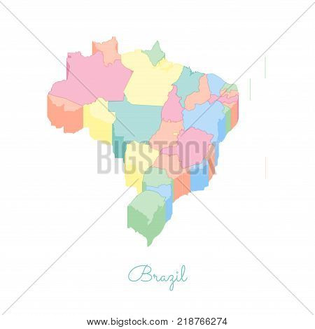 Czech Republic Region Map: Colorful Isometric Top View. Detailed Map Of Czech Republic Regions. Vect