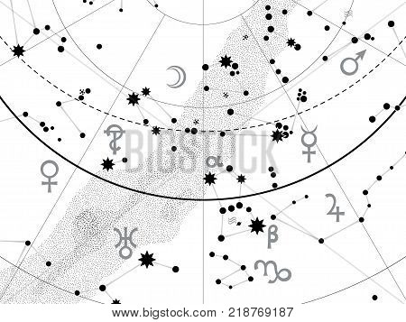 Fragment of Astronomical Celestial Atlas: Paint The Sky With Stars (snow-white outline vector background)