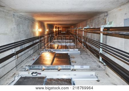 elevator in lift shaft