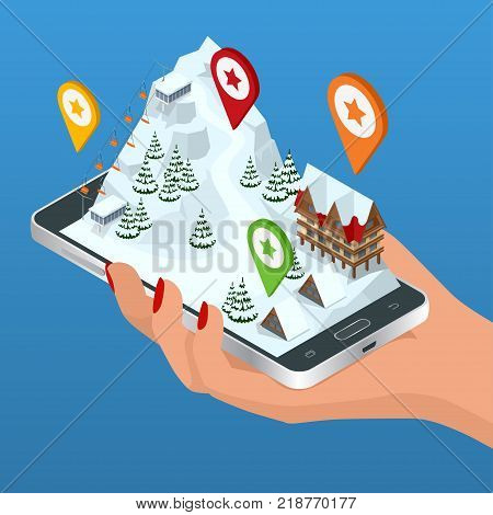 Online hotel booking. Ski resort, slope, people on the ski lift, skiers on the piste among white snow pine trees and hotel. Winter holiday web banner design. Vector isometric illustration