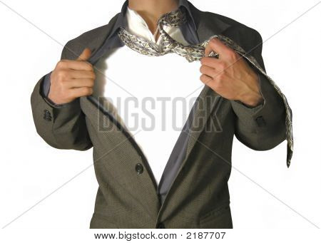 Businessman With Your Placard On A Chest