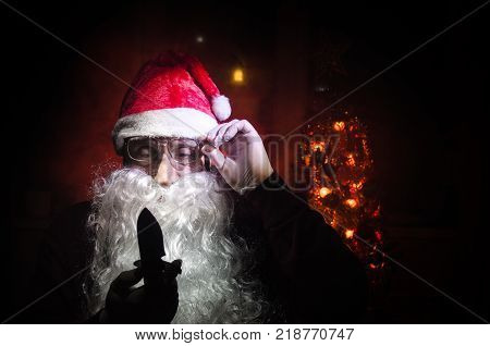 Horror Santa Claus Shows His Knife, Bad Angry Santa Claus Killer Threatening With A Knife