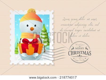 Holiday postcard with a postage stamp with cartoon Snowman, a gift box and trees. Seal stamp with title
